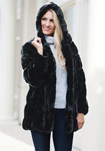 Fabulous Furs Onyx Mink Couture Hooded, Fake Fur Coat Hood